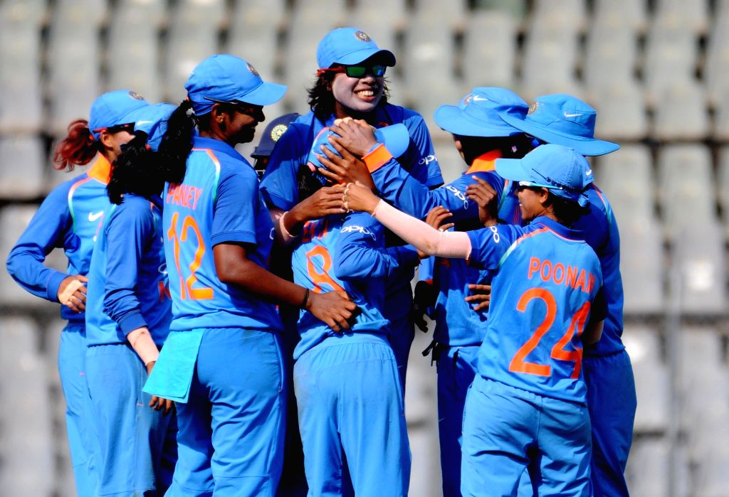 Indian players celebrate fall of a wicket during the 1st ODI match of ICC Women's Championship between India and England at Wankhede Stadium in Mumbai, on Feb 22, 2019.
