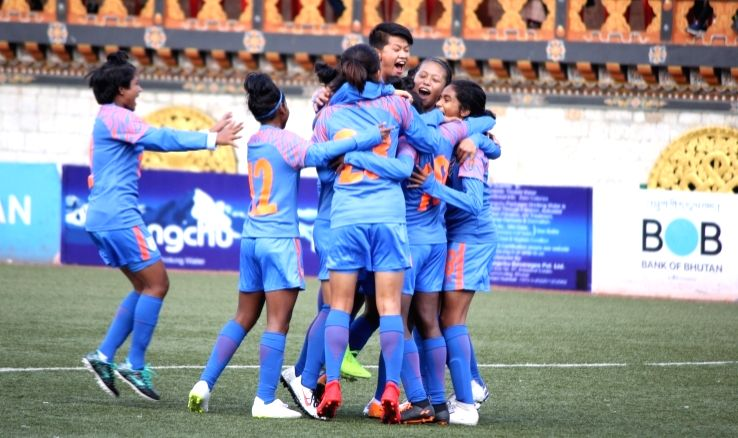 Indian players during SAFF U-15 Women's Championship 2019.