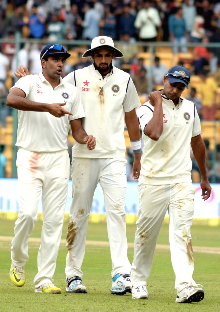 Indian players during the first day of the second test match between India and South Africa at M Chinnaswamy Stadium in Bengaluru, on Nov 14, 2015.