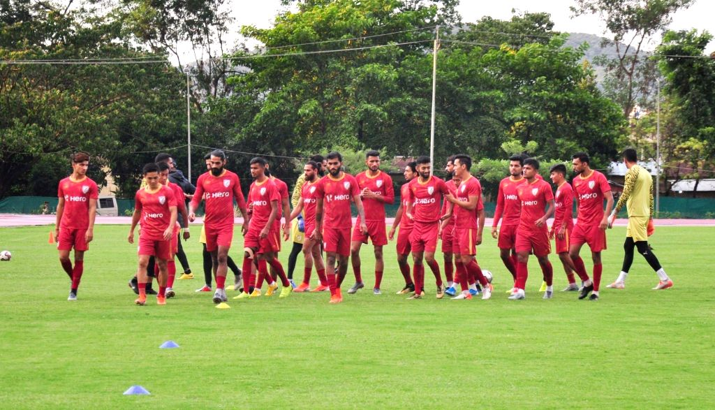 Indian players in action during a practice session ahead of their FIFA World Cup qualifier match against Oman in Guwahati on Sep 3, 2019.