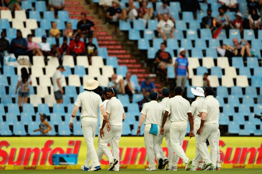 Indian players leave the field during day 3 of the second Test match between South Africa and India at the Supersport Park Cricket Ground in Centurion, South Africa on Jan 15, 2018.