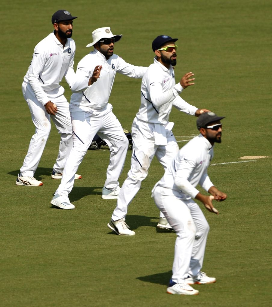Indian players on Day 1 of the 1st Test match against Bangladesh at Holkar Cricket Stadium in Indore, Madhya Pradesh on Nov 14, 2019.