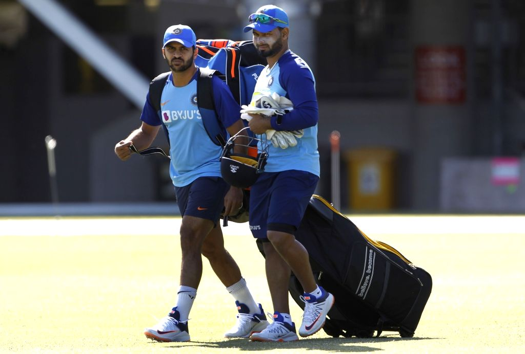 Indian players Shardul Thakur and Rishabh Pant during a practice session ahead of the 2nd ODI against New Zealand at Auckland in New Zealand on Feb 7, 2020.