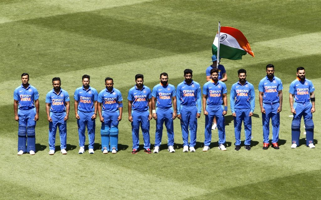 Indian players stand for the National Anthem ahead of the 1st ODI of the three-match series between India and New Zealand at the Seddon Park in Hamilton, New Zealand on Feb 5, 2020.