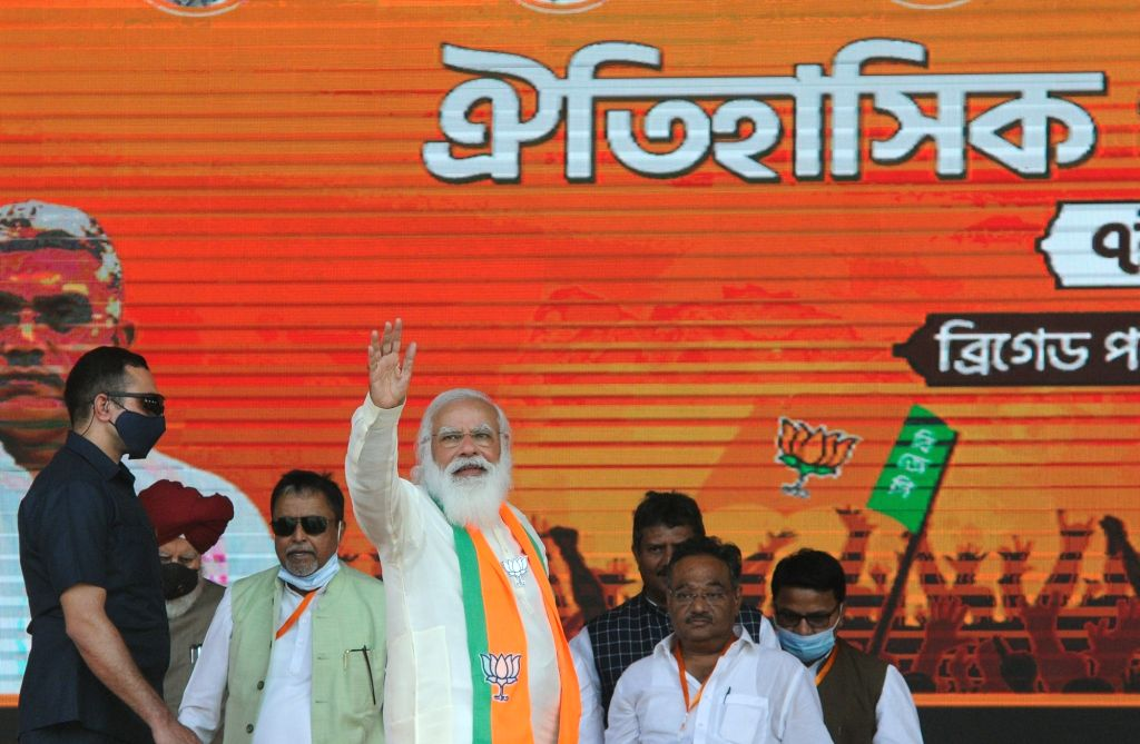Indian Prime minister Narendra Modi at Brigade Parade Ground during BJP public meeting ahead of State Assembly election in Kolkata on March 7, 2021. - Narendra Modi