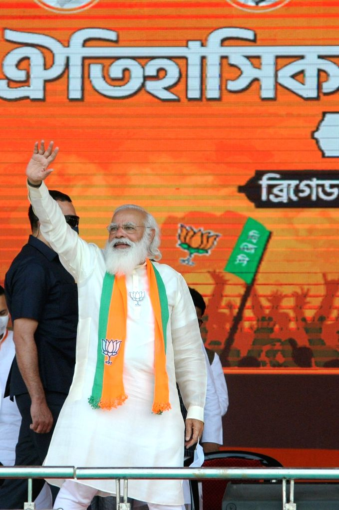 Indian Prime minister Narendra Modi at Brigade Parade Ground during BJP public meeting ahead of State Assembly election in Kolkata on March 7, 2021 - Narendra Modi