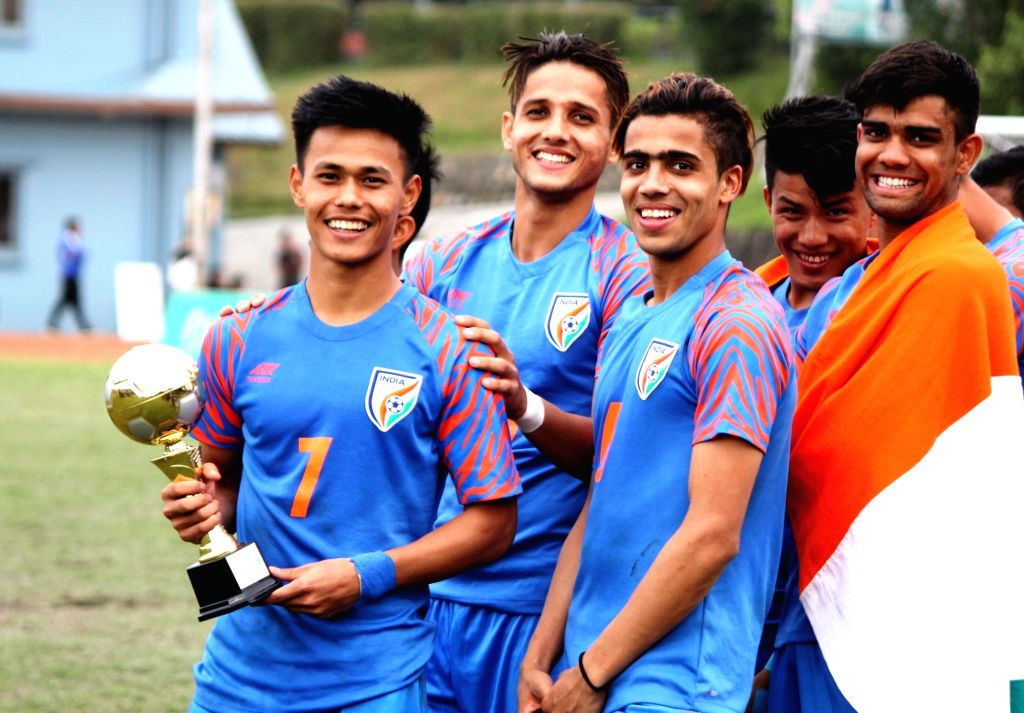 Indian's Ninthoi Meetei pose with MVP Award of SAFF U-18 Championship after they defeated Bangladesh in the final of SAFF U-18 Championship in Kathmandu, Nepal on Sep 29, 2019.