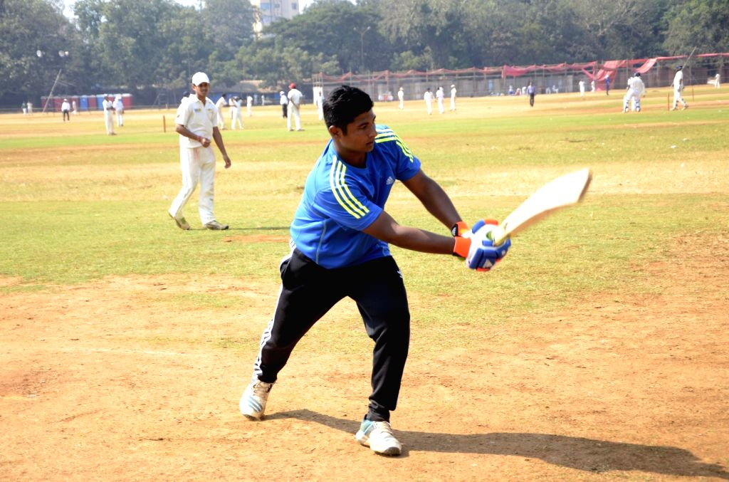 Indian`s U-19 player Sarfaraz Khan practices ahead of U-19 World Cup at Azad Maidan in Mumbai, on Jan 14, 2016.