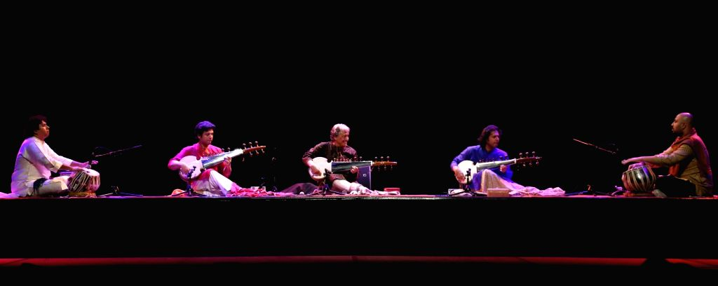 Indian Sarod player Ustad Amjad Ali Khan performs during inauguration of Namaste France cultural festival in La Villette of Paris, France on Sept 16, 2016.