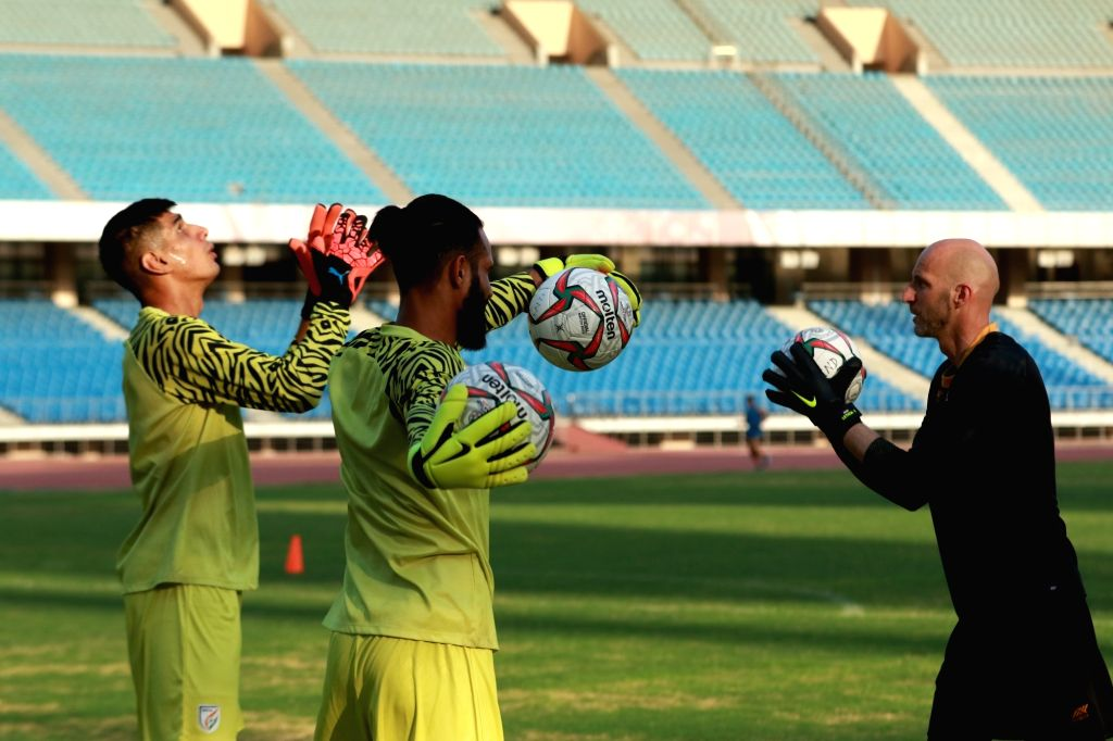 Indian Senior Men???s National Team goalkeeper Gupreet Singh Sandhu and the team's goalkeeper coach Tomislav Rogic during a training session at a preparatory camp for the King???s Cup, in ... - Gupreet Singh Sandhu