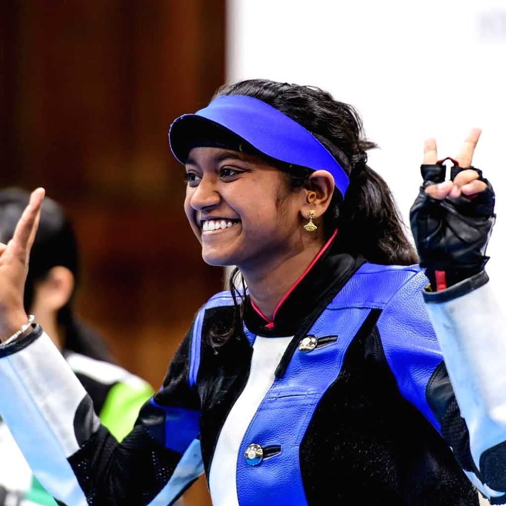 Indian shooter Elavenil Valarivan after winning double gold in individual and team event at the ISSF Junior World Cup, at the Sydney International Shooting Centre on March 22, 2018.