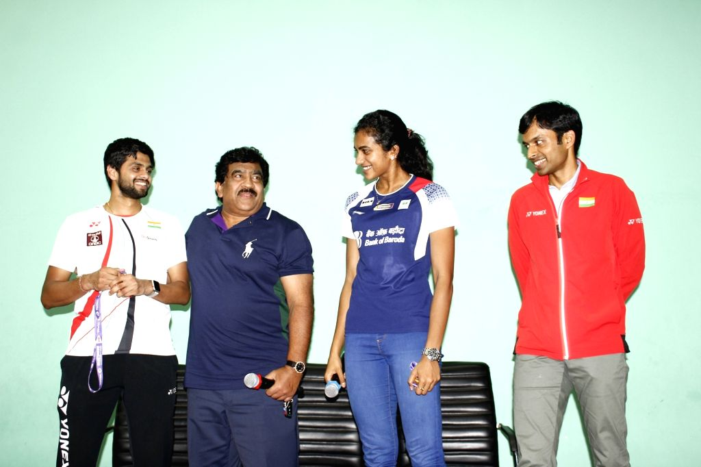 Indian shuttler P. V. Sindhu and B. Sai Praneeth at the BWF World Championships at Gopichand Badminton Academy in Hyderabad on Aug 27, 2019.