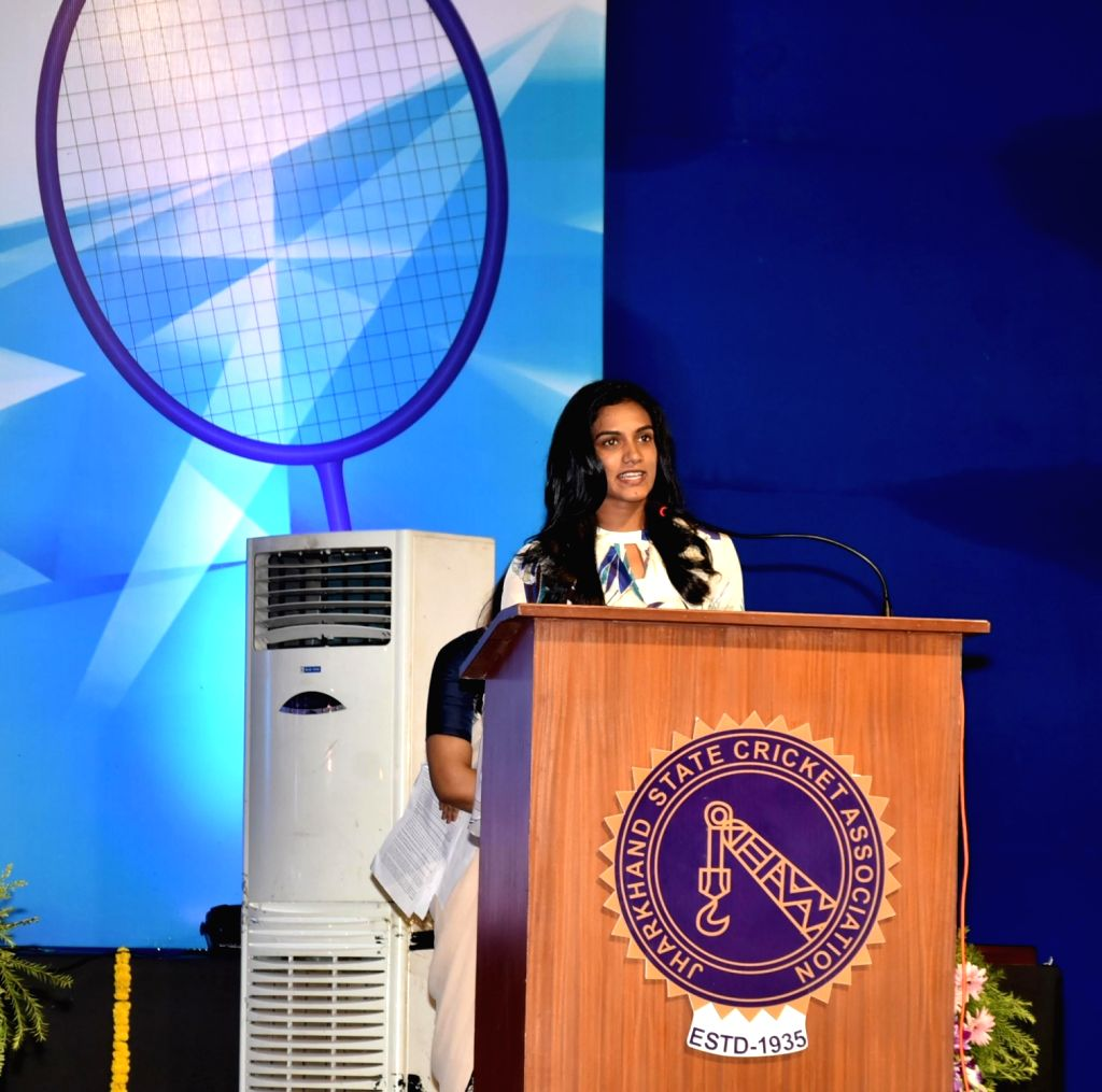"Indian shuttler PV Sindhu addresses after inaugurating  ""Racquets"" - a Badminton and Squash court at Jharkhand State Cricket Stadium (JSCA) complex in Ranchi on May 20, 2018."