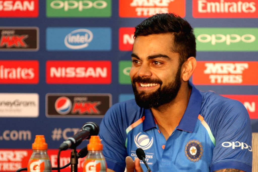Indian skipper Virat Kohli addresses a press conference at the Oval in London on June 17, 2017. - Virat Kohli