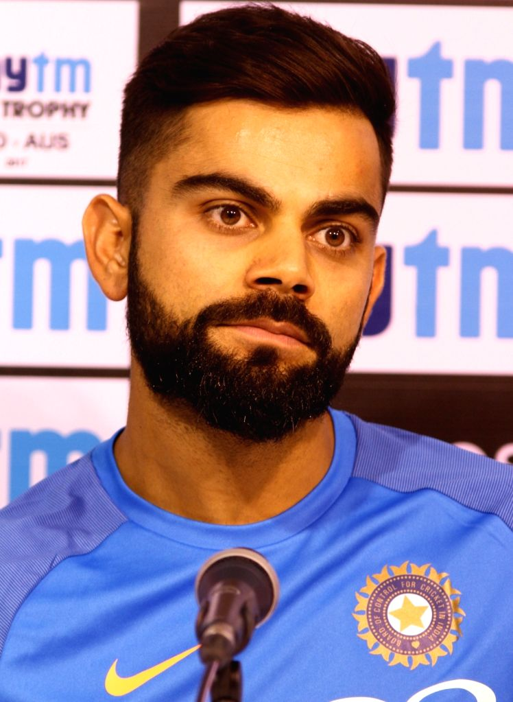Indian skipper Virat Kohli addresses a press conference in Chennai on Sept 16, 2017. - Virat Kohli
