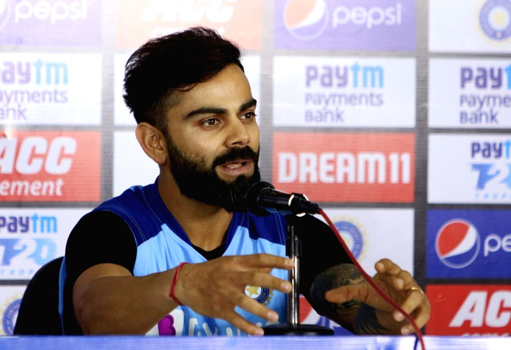 Indian skipper Virat Kohli addresses a press conference ahead of the first Twenty20 match against West Indies at Rajiv Gandhi International Cricket Stadium in Hyderabad on Dec 5, 2019. - Virat Kohli