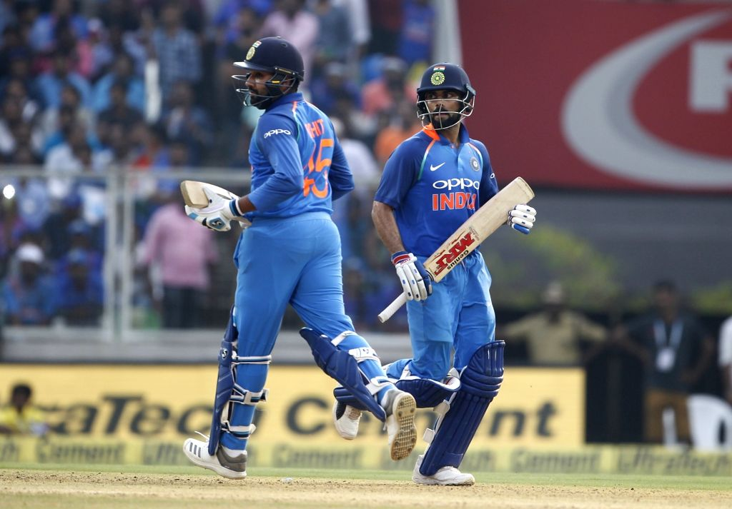 Indian skipper Virat Kohli and Rohit Sharma during the fifth and final ODI match between India and West Indies in Thiruvananthapuram, on Nov. 1, 2018. - Virat Kohli and Rohit Sharma