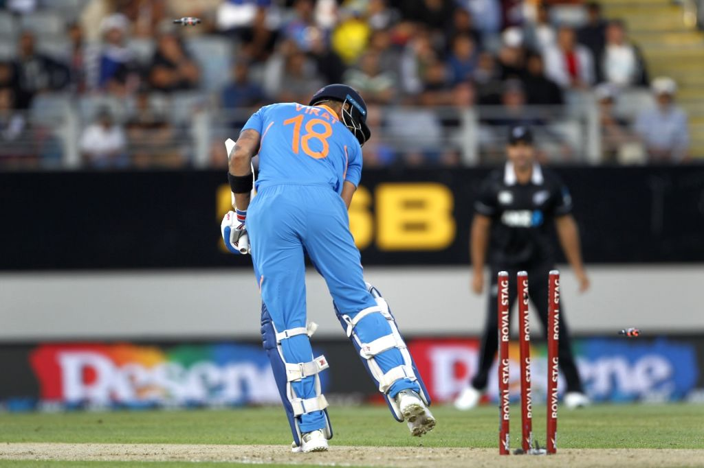 Indian skipper Virat Kohli bowled by New Zealand's Tim Southee during the the second ODI of the three-match series between India and New Zealand at the Eden Park in Auckland, New Zealand on ... - Virat Kohli