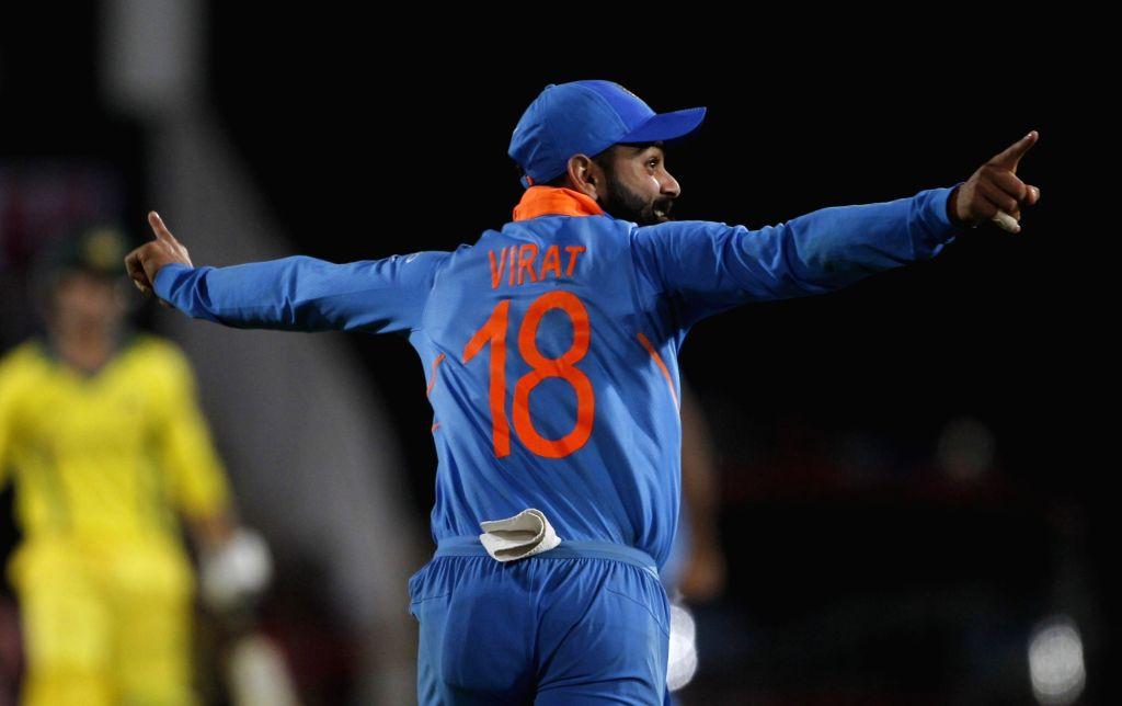 Indian skipper Virat Kohli celebrates after winning the second ODI match against Australia at Vidarbha Cricket Association (VCA) Stadium, in Nagpur, on March 5, 2019. - Virat Kohli