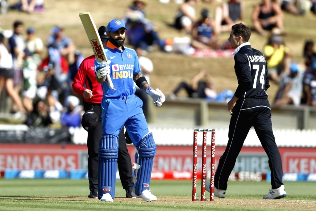 Indian skipper Virat Kohli celebrates his half century during the 1st ODI of the three-match series between India and New Zealand at the Seddon Park in Hamilton, New Zealand on Feb 5, 2020. - Virat Kohli