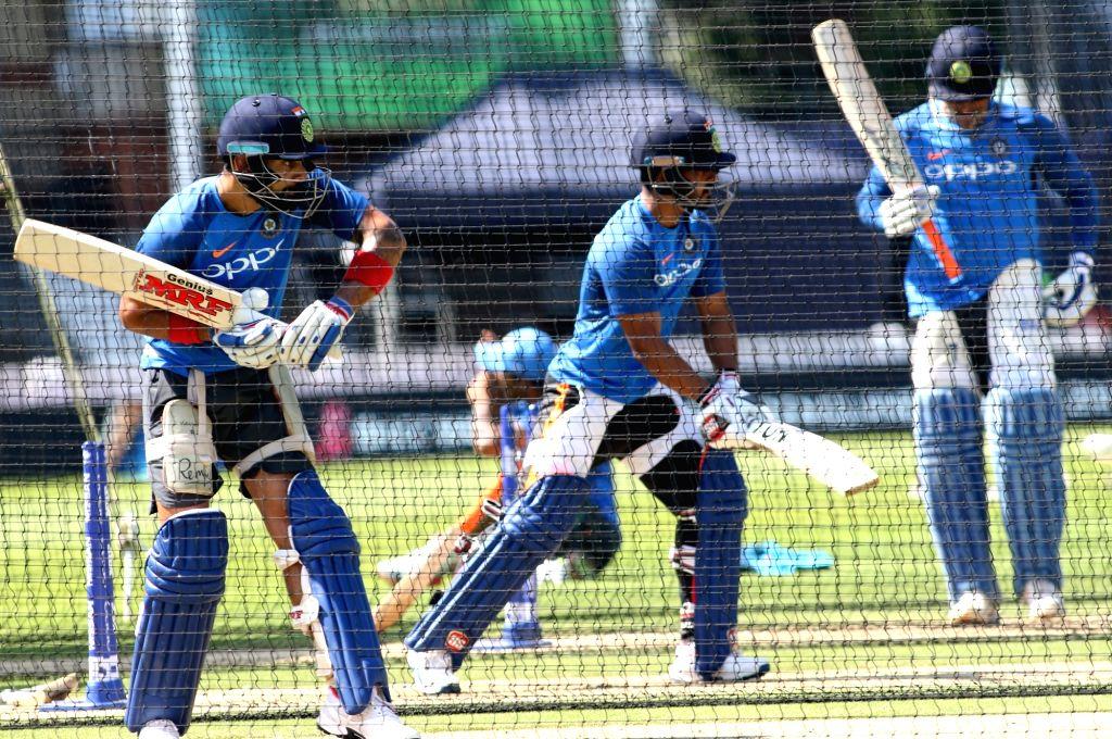 Indian skipper Virat Kohli during a practice session at the Oval in London on June 17, 2017. - Virat Kohli