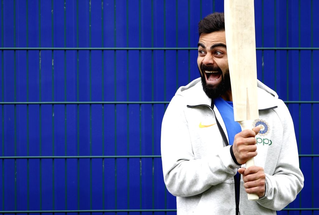 Indian skipper Virat Kohli during a practice session ahead of the World Cup 2019 match against Pakistan in Manchester, England on June 15, 2019. - Virat Kohli