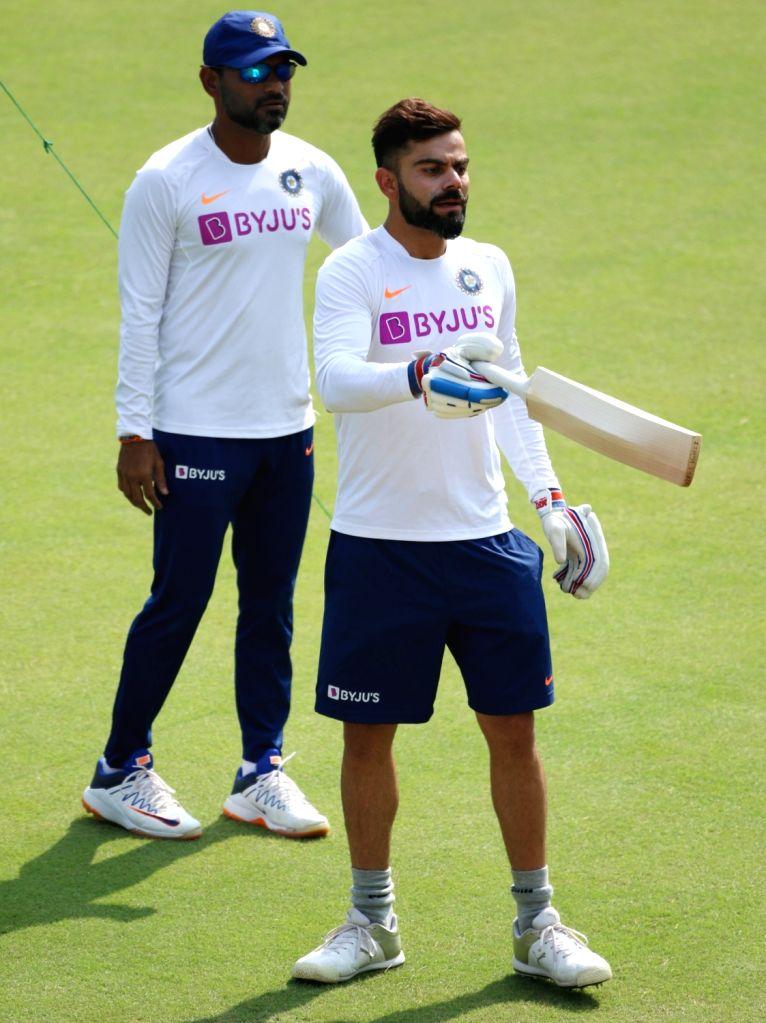 Indian skipper Virat Kohli during a practice session ahead of the 1st Test match against Bangladesh, at Holkar Cricket Stadium in Indore, Madhya Pradesh on Nov 12, 2019. - Virat Kohli