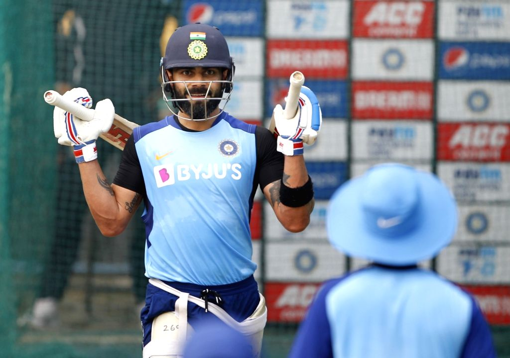 Indian skipper Virat Kohli during a practice session ahead of the first Twenty20 match against West Indies at Rajiv Gandhi International Cricket Stadium in Hyderabad on Dec 5, 2019. - Virat Kohli