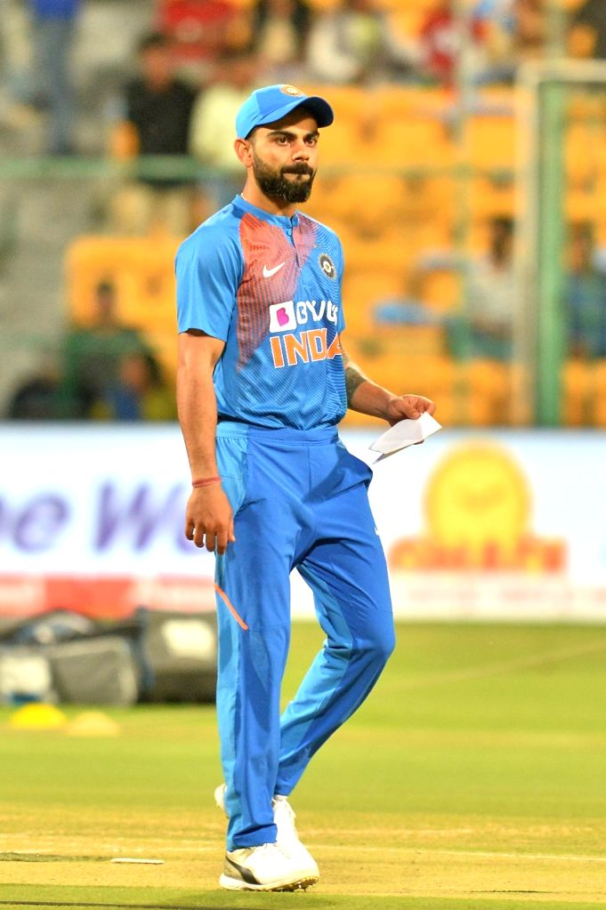 Indian skipper Virat Kohli during the toss ahead of the 3rd T20I match between India and South Africa at M. Chinnaswamy Stadium in Bengaluru on Sep 22, 2019. - Virat Kohli