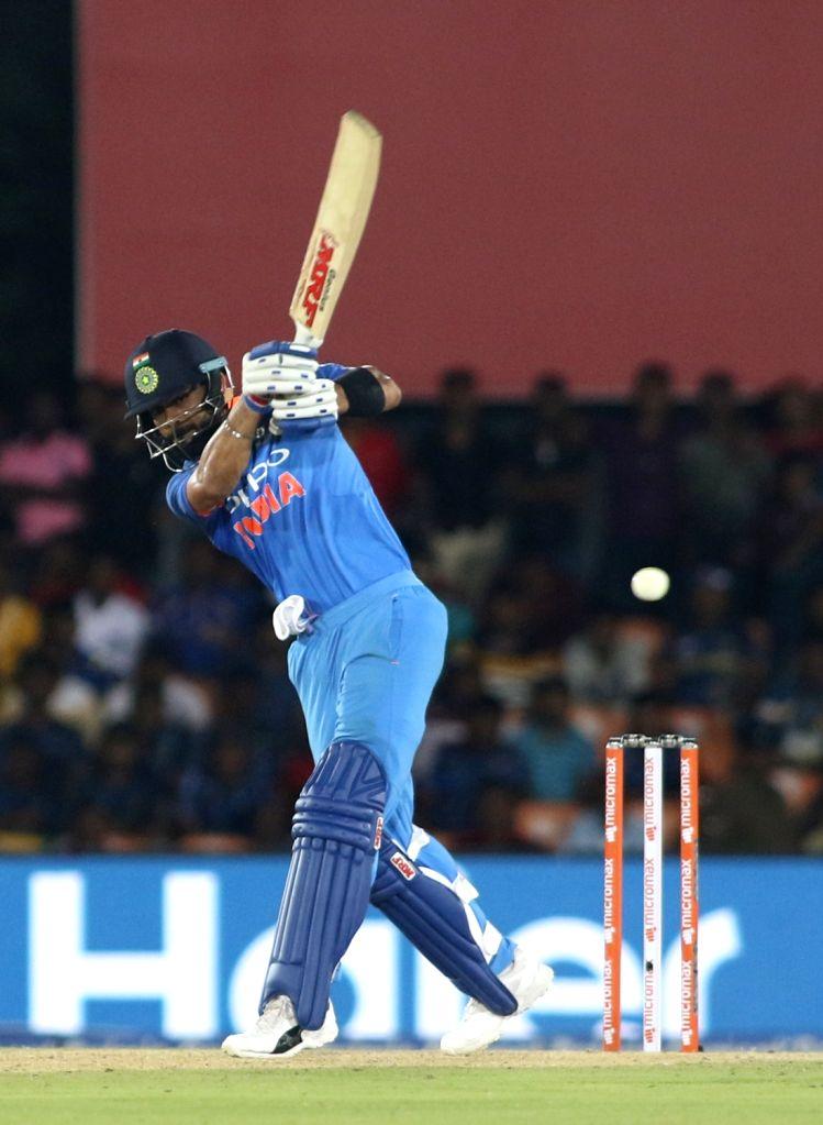Indian skipper Virat Kohli in action during the first ODI International cricket match between India and Sri Lanka at Rangiri Dambulla International Stadium in Dambulla, Sri Lanka on Aug 20, ... - Virat Kohli