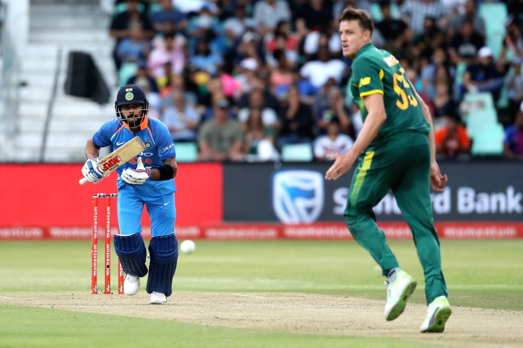 Indian skipper Virat Kohli in action during the 1st ODI match between India and South Africa at Kingsmead Cricket Ground in Durban, South Africa on Feb 1, 2018. - Virat Kohli