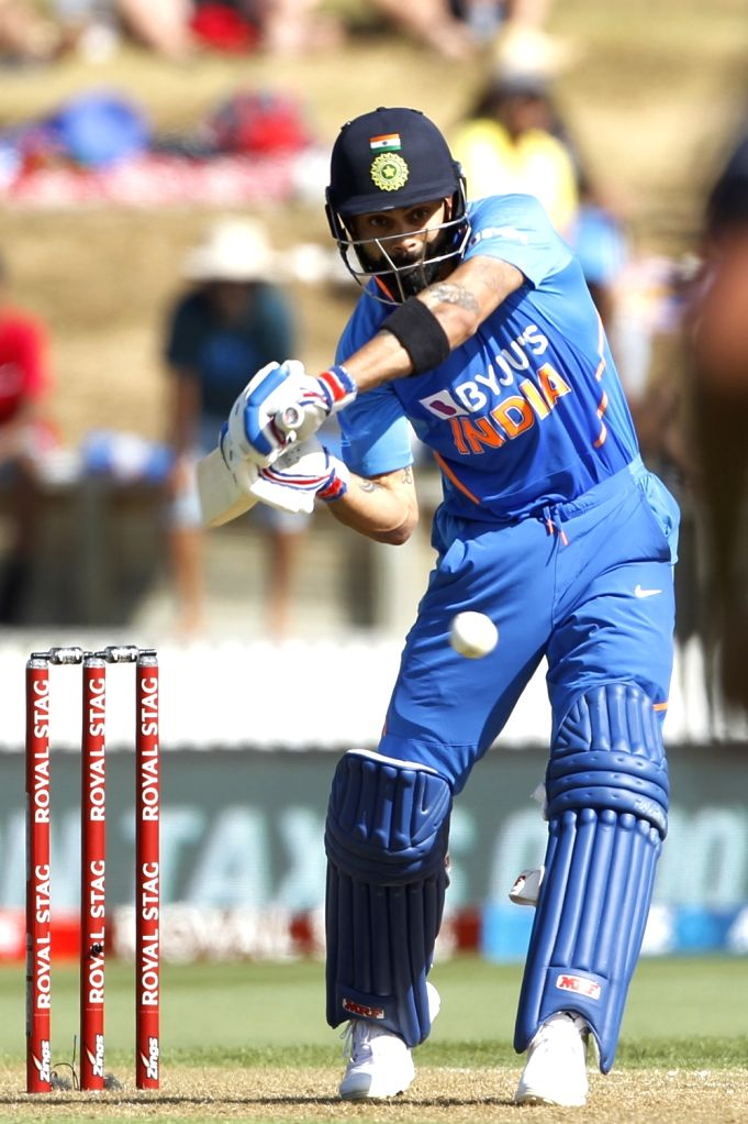 Indian skipper Virat Kohli in action during the 1st ODI of the three-match series between India and New Zealand at the Seddon Park in Hamilton, New Zealand on Feb 5, 2020. - Virat Kohli