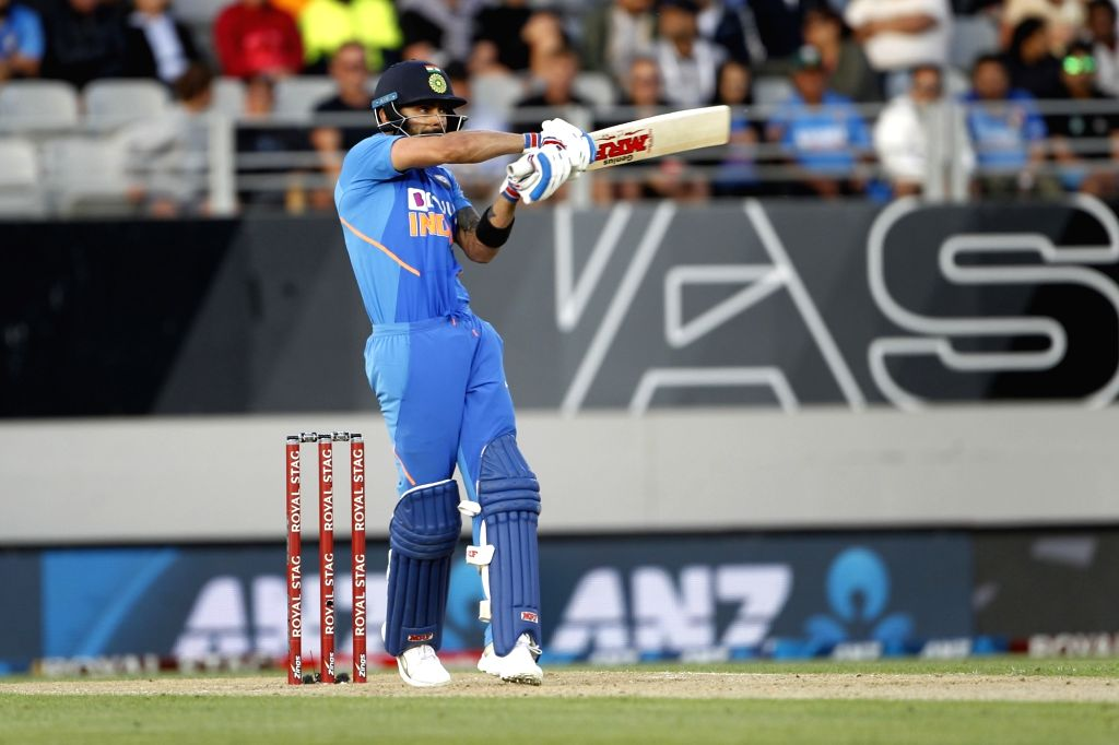 Indian skipper Virat Kohli in action during the the second ODI of the three-match series between India and New Zealand at the Eden Park in Auckland, New Zealand on Feb 8, 2020. - Virat Kohli