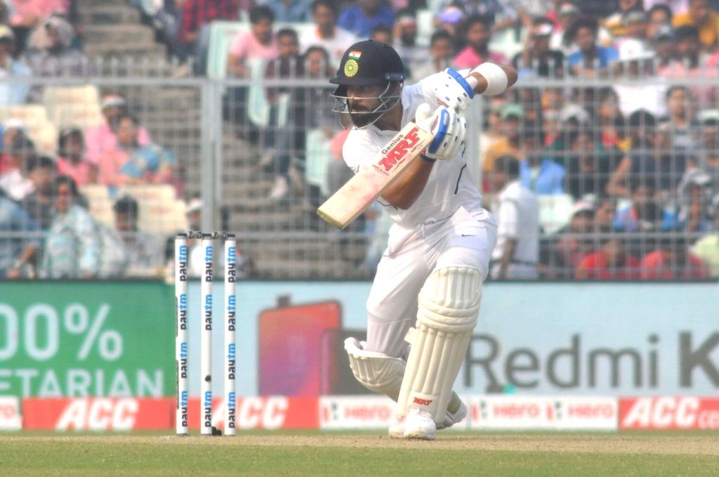 Indian skipper Virat Kohli in action on Day 2 of the second Test match between India and Bangladesh, at the Eden Gardens in Kolkata on Nov 23, 2019. The second Test match between India and Bangladesh is the first ever pink ball Day-Night Test match f - Virat Kohli