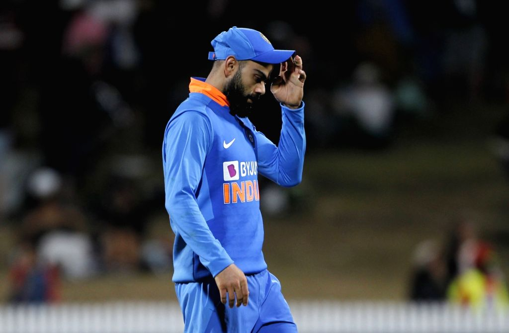 Indian skipper Virat Kohli reacts after India lost by four wickets against New Zealand in the 1st ODI of the three-match series at the Seddon Park in Hamilton, New Zealand on Feb 5, 2020. - Virat Kohli
