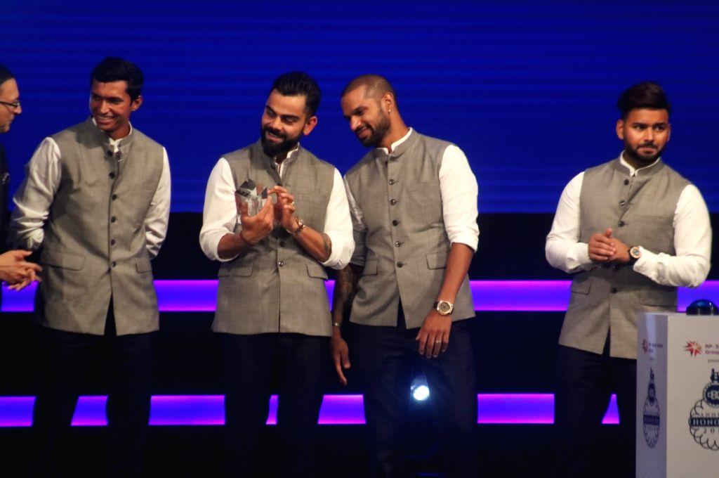 Indian skipper Virat Kohli, Shikhar Dhawan, Rishabh Pant and Navdeep Saini during inauguration of Arun Jaitley Cricket Stadium in New Delhi on Sep 12, 2019. Delhi and District Cricket ... - Shikhar Dhawan, Virat Kohli, Feroz Shah Kotla and Arun Jaitley