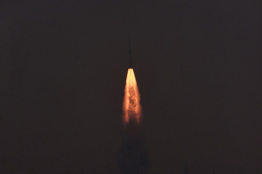 Indian Space Research Organisation (ISRO)'s PSLV-C31 carrying IRNSS-1E , lifts off from Satish Dhawan Space Center in Sriharikota, a barrier island off the Bay of Bengal coast located in ...