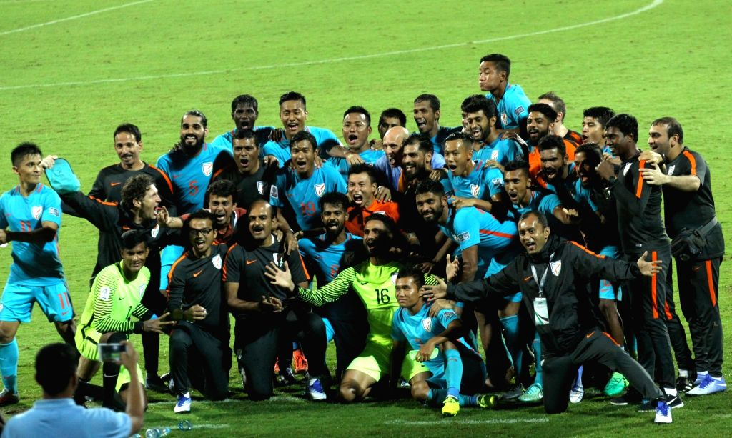 Indian team celebrate winning 2019 AFC Asian Cup qualifier match against Macau at Kanteerava Stadium in Bengaluru, on Oct 11, 2017.