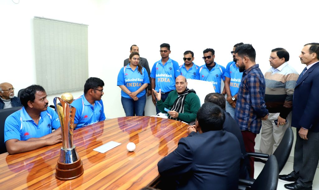 Indian team which won the recent 2018 Blind Cricket World Cup in Sharjah, UAE calls on Union Home Minister Rajnath Singh in New Delhi on Jan 23, 2018. - Rajnath Singh