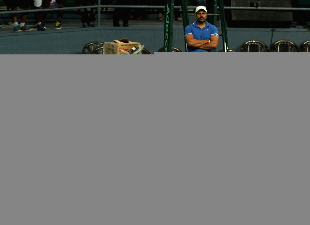 Indian tennis player Leander Paes during a practice session ahead of Davis Cup 2016 in New Delhi on Sept 15, 2016.