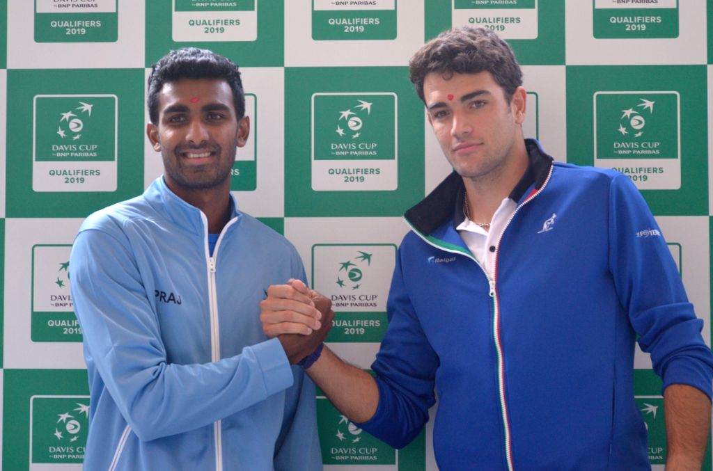 Indian tennis player Prajnesh Gunneswaran and Italy's Matteo Berrettini at the draw ceremony ahead of Davis Cup World Group qualifier between India and Italy on February 1-2, in Kolkata, on ...