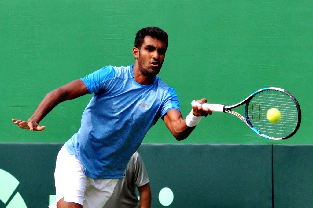 Indian tennis player Prajnesh Gunneswaran. (Photo: Kuntal Chakrabarty/IANS)