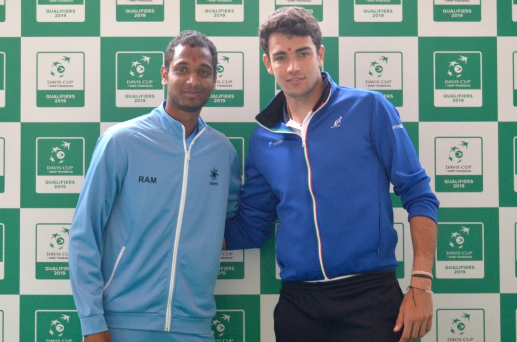 Indian tennis player Ramkumar Ramanathan and Italy's Matteo Berrettini at the draw ceremony ahead of Davis Cup World Group qualifier between India and Italy on February 1-2, in Kolkata, on ...