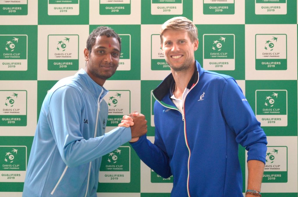 Indian tennis player Ramkumar Ramanathan and Italy's Andreas Seppi at the draw ceremony ahead of Davis Cup World Group qualifier between India and Italy on February 1-2, in Kolkata, on Jan ...