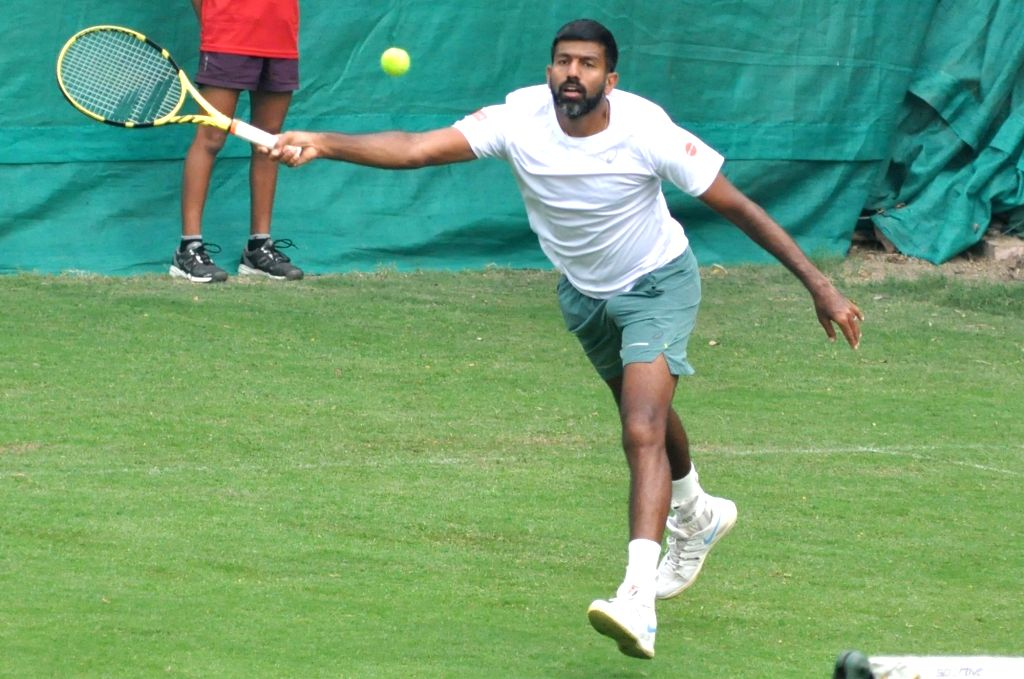 Indian tennis player Rohan Bopanna in action during a practice session ahead of the Davis Cup World Group qualifier against Italy on February 1-2, in Kolkata, on Jan 28, 2019. - Rohan Bopanna
