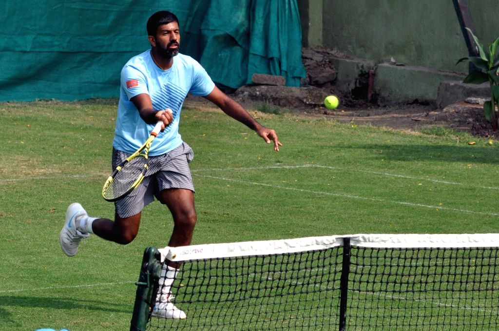 Indian tennis player Rohan Bopanna in action during a practice session ahead of the Davis Cup World Group qualifier against Italy on February 1-2, in Kolkata, on Jan 29, 2019. - Rohan Bopanna