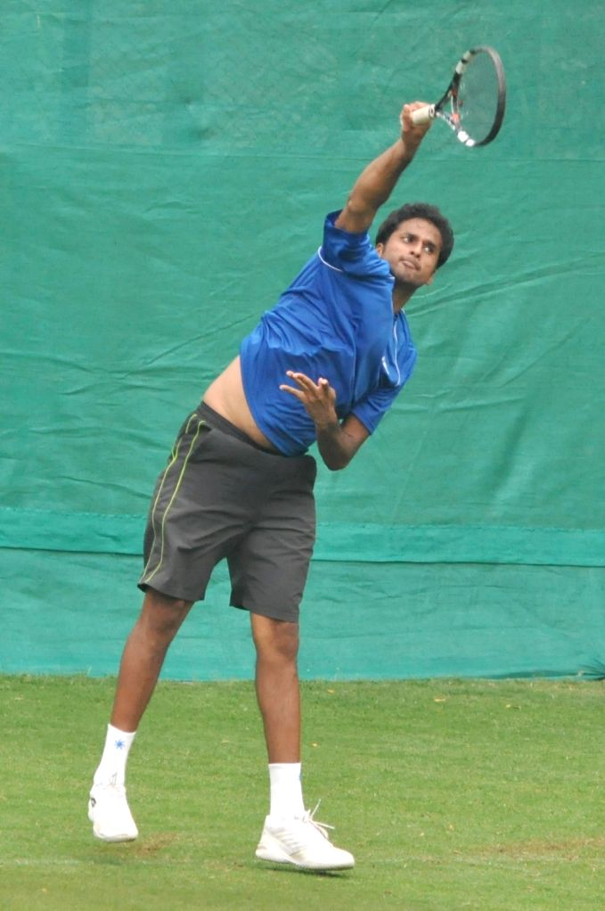 Indian tennis player Saketh Myneni in action during a practice session ahead of the Davis Cup World Group qualifier against Italy on February 1-2, in Kolkata, on Jan 28, 2019.