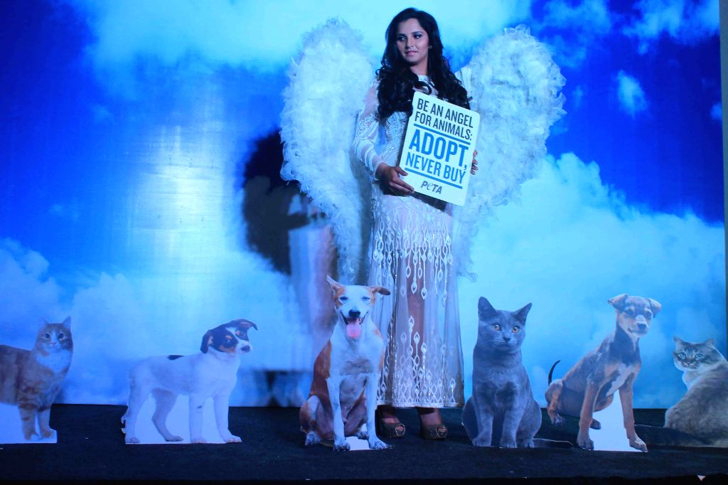 Indian tennis player Sania Mirza campaigns for PETA in Hyderabad on Sept 11, 2014.