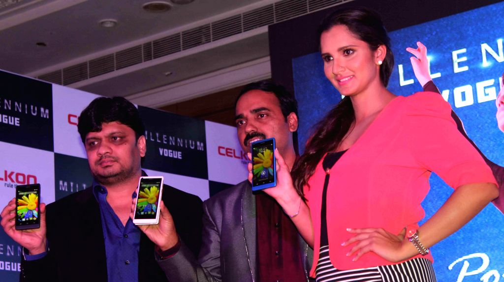 Indian tennis player Sania Mirza during a programme to launch CELKON cell phone in Hyderabad on July 25, 2014.