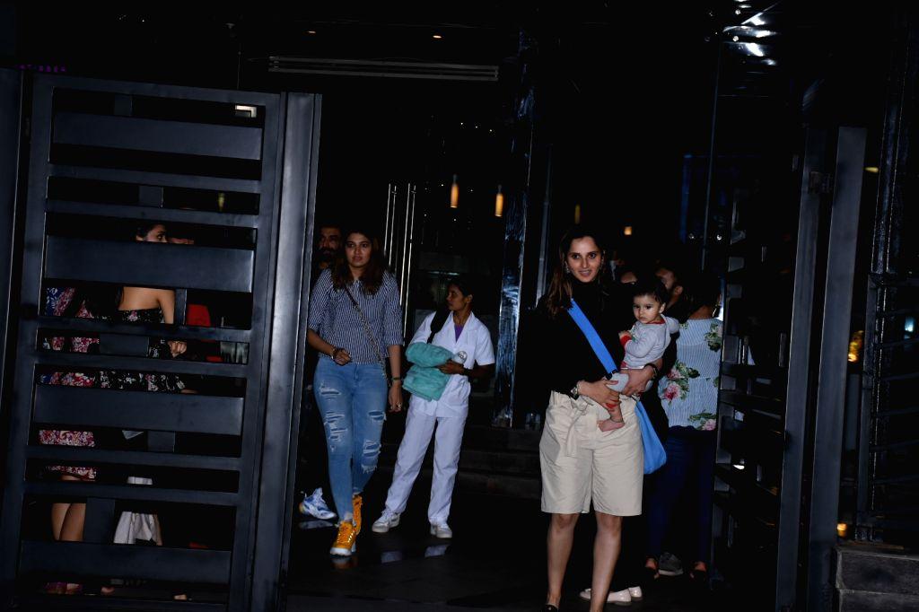 Indian Tennis player Sania Mirza with her son Izhaan Mirza Malik seen at Bandra in Mumbai, on July 15, 2019. - Sania Mirza and Izhaan Mirza Malik
